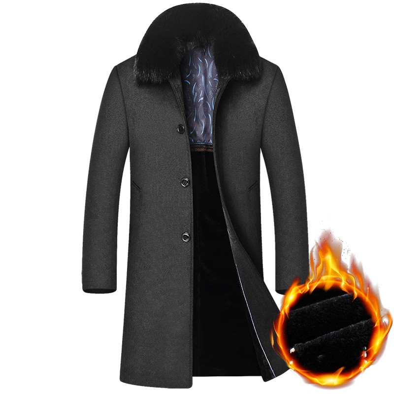 2018 New Business Men Faux Fur Collar Sobretudo Thick Warm Fleece Lining Wool Coat Large Size Woolen Long Jacket Trench Overcoat