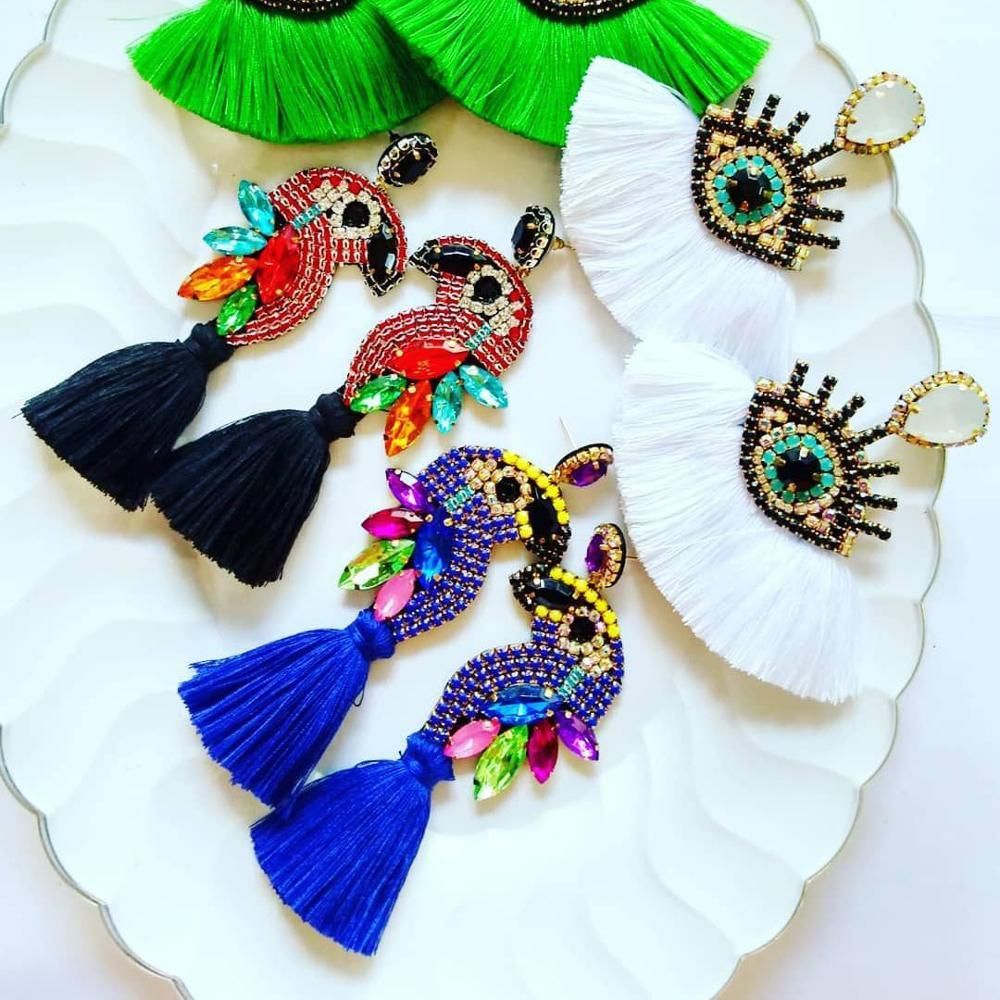 Dvacaman INS Blue Parrot Tassel Earrings for Women Crystal Bird Drop Earrings Evil Eye Long Fringed Dangle Earrings Christmas
