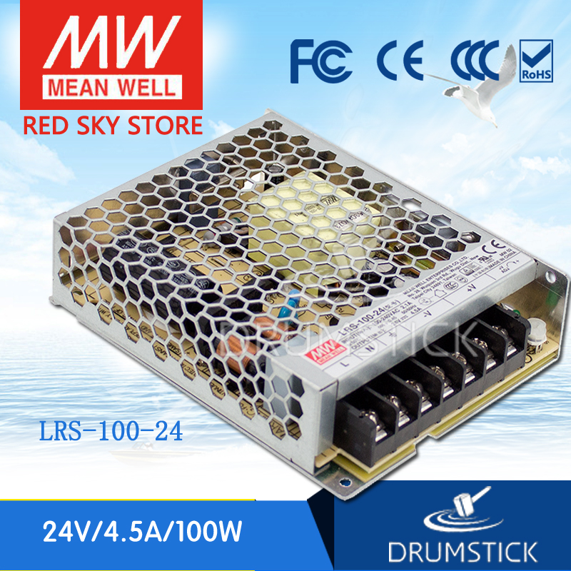 ФОТО Redsky [free-delivery 2Pcs] MEAN WELL original LRS-100-24 24V 4.5A meanwell LRS-100 108W Single Output Switching Power Supply