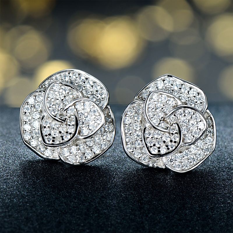 M&W JEWELRY Authentic 925 Sterling Silver Shimmering Rose Stud Earrings With Clear CZ For Women Jewelry Gift