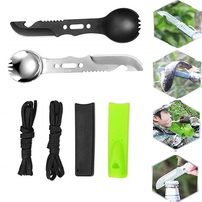 5 In 1 Outdoor Spoon Fork Knife Set Whistle Camping Survival Tool Hiking Hunting EDC Survival Multifunctional Safety Utensil