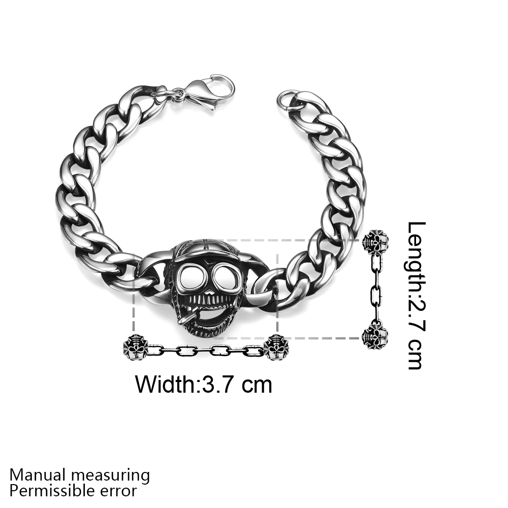 37cde8cf76f90 US $15.7 |New Fashion Hollow Skull Head Bracelets For Man High Quality  Gothic Friendship Charm Link Chain Bangles Punk Rock Biker Jewelry-in Chain  & ...