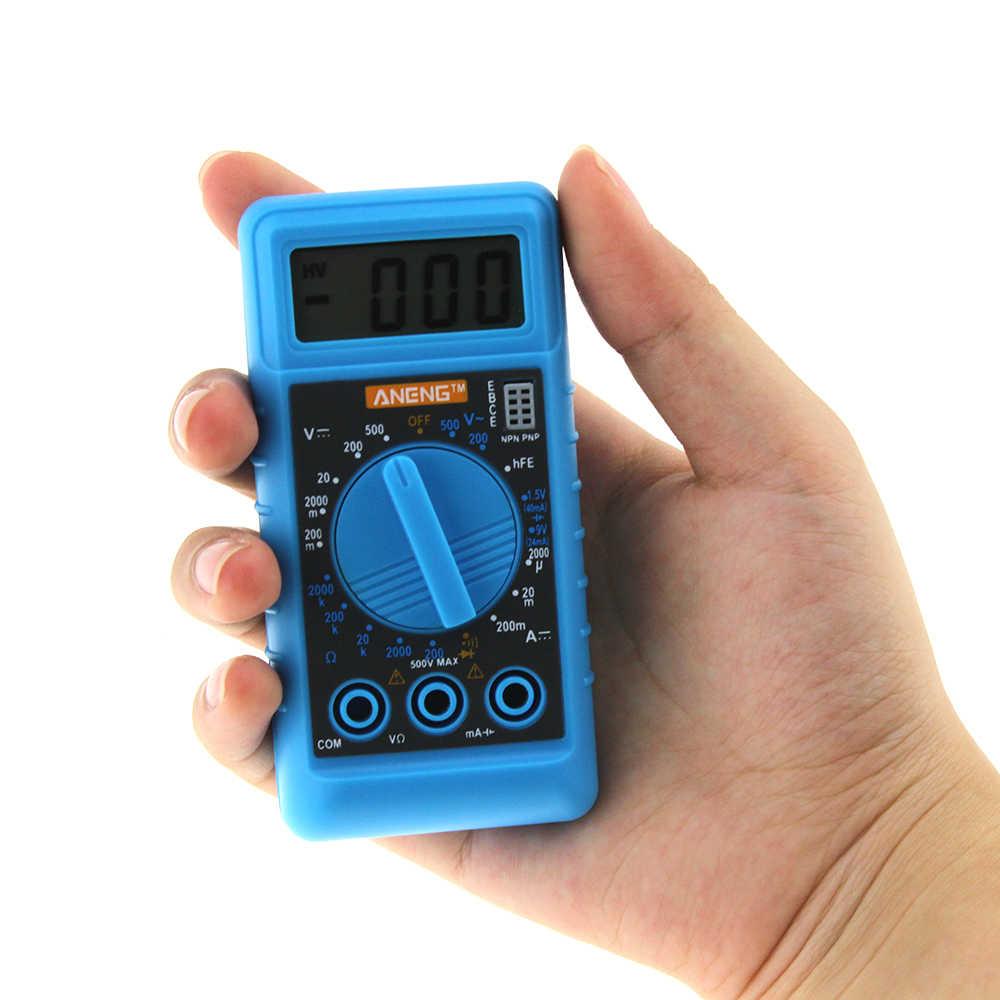 ANENG ミニデジタルスクリーンデジタルマルチメータ過負荷保護ポケット電圧アンペア抵抗計 DC AC 液晶ポータブル