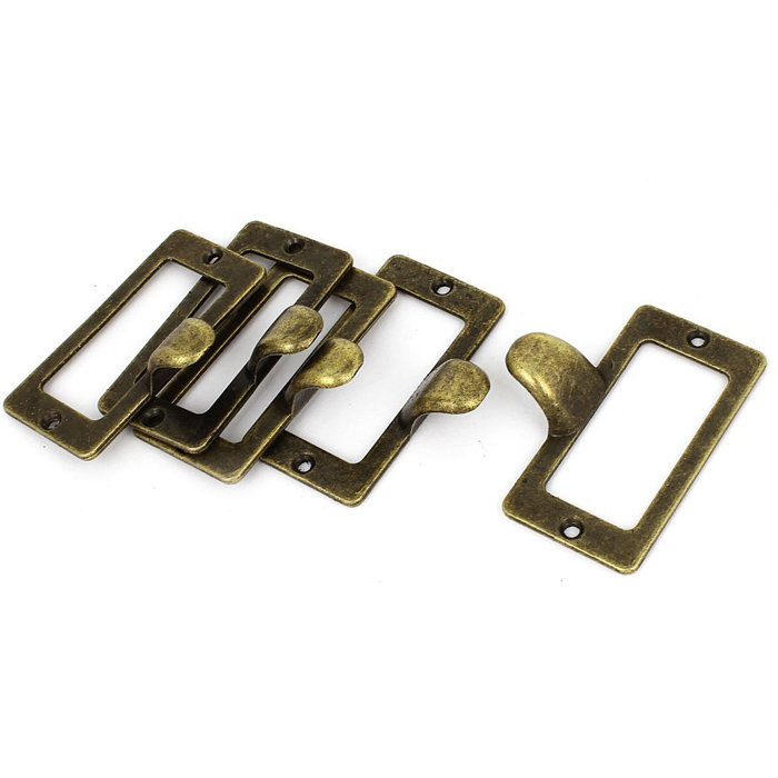 12PCS Vintage Bronze Cupboard Drawer Finger Pulls Handle Library Tag ...