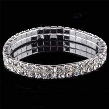 1-6 Rows Crystal Rhinestone Tennis Bracelet Fashion Jewelry For Women Bridal Wedding Multilayer Stretch Bracelets