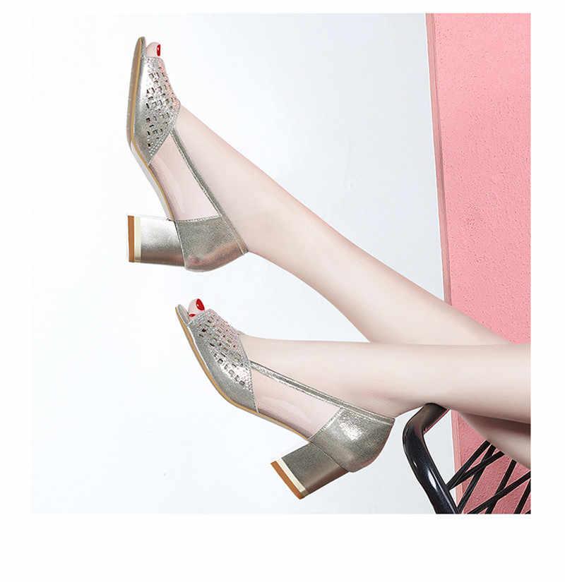2019 yaz kadın sandalet Bling açık burunlu yüksek topuklu ayakkabı oymak pompaları kadın elbise ayakkabı OL ofis bayanlar ayakkabı zapatos mujer