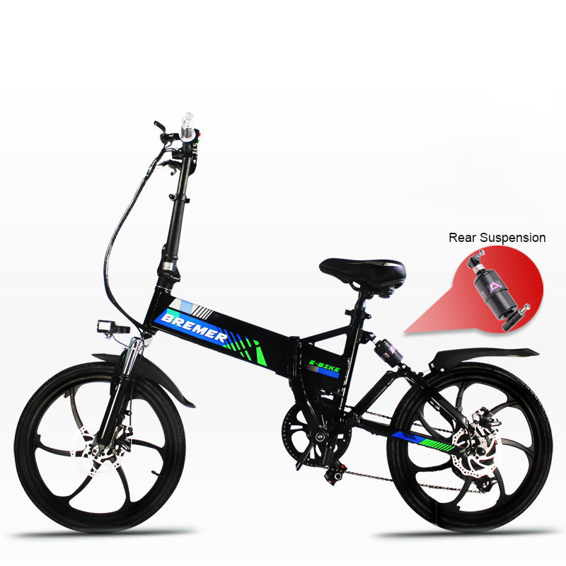 20inch electric bicycle 48V500W fold frame hidden lithium battery ebike Front and rear double suspension assist