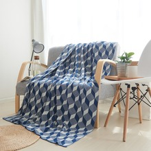 cotton chunky knitted weighted blanket for bed sofa knit geometric throw adult summer quilt Bedspread