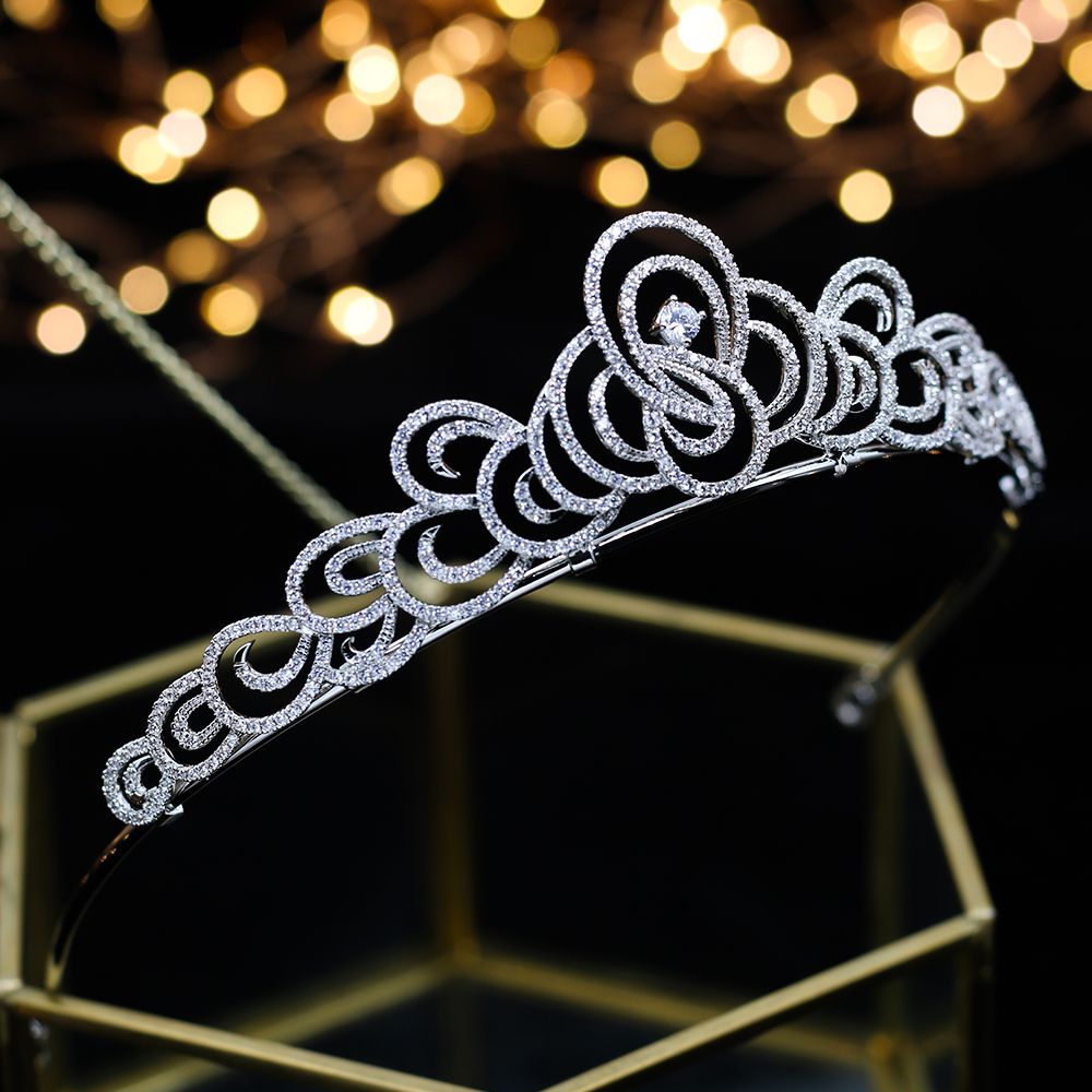 Top Quality Wedding Bridal Bridesmaid Flower Cubic Zirconia Girls white plated zircon tiara crown headband For