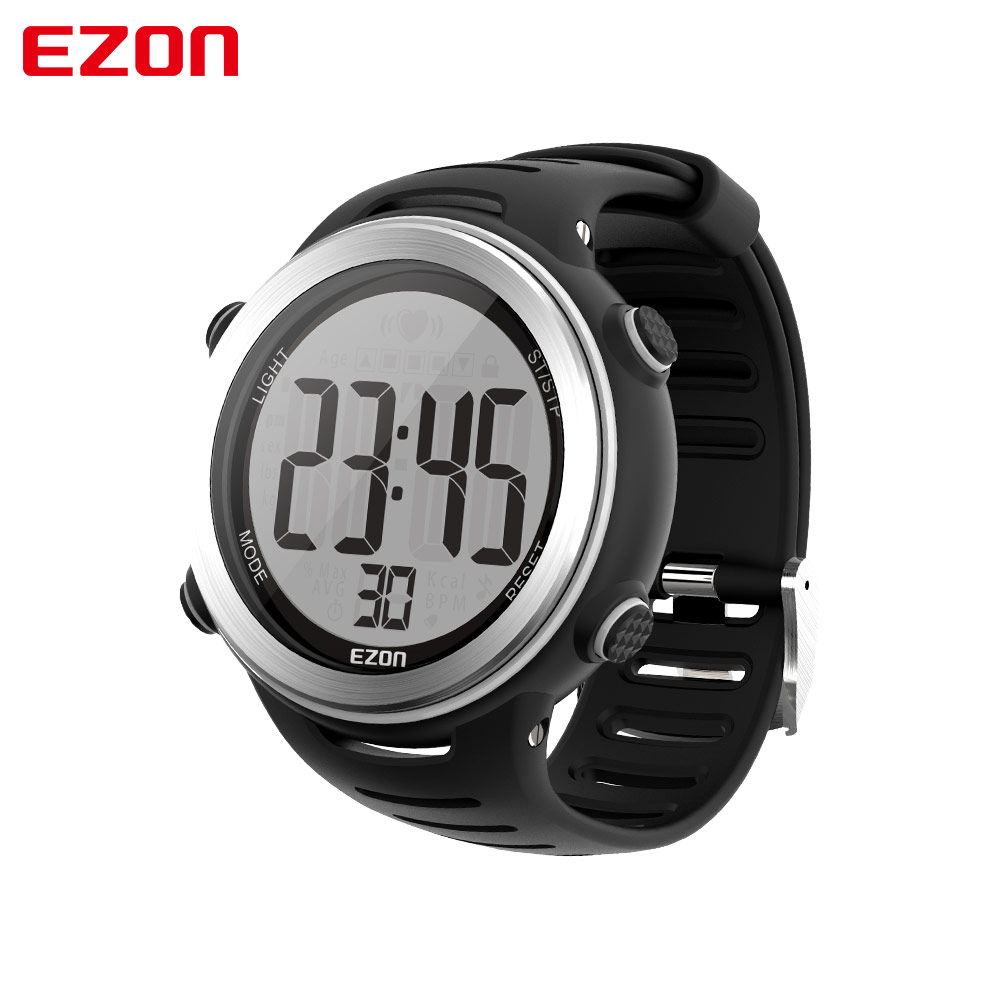 EZON Digital Men Heart Rate Monitor Watches Mens Sports Military Quartz Wrist Watch Alarm Back Light Male Clock Reloj Hombre weide 2017 new men quartz casual watch army military sports watch waterproof back light alarm men watches alarm clock berloques