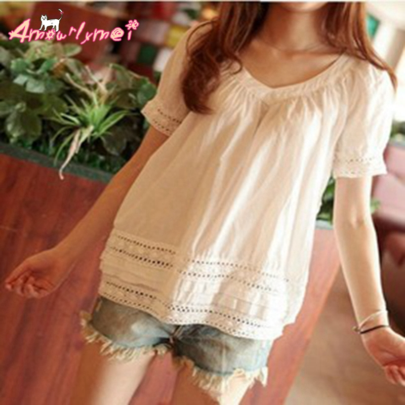 2020 Summer new women blouse mori girl V-neck hollow out crochet lace patchwork short-sleeved cotton white shirt casual tops