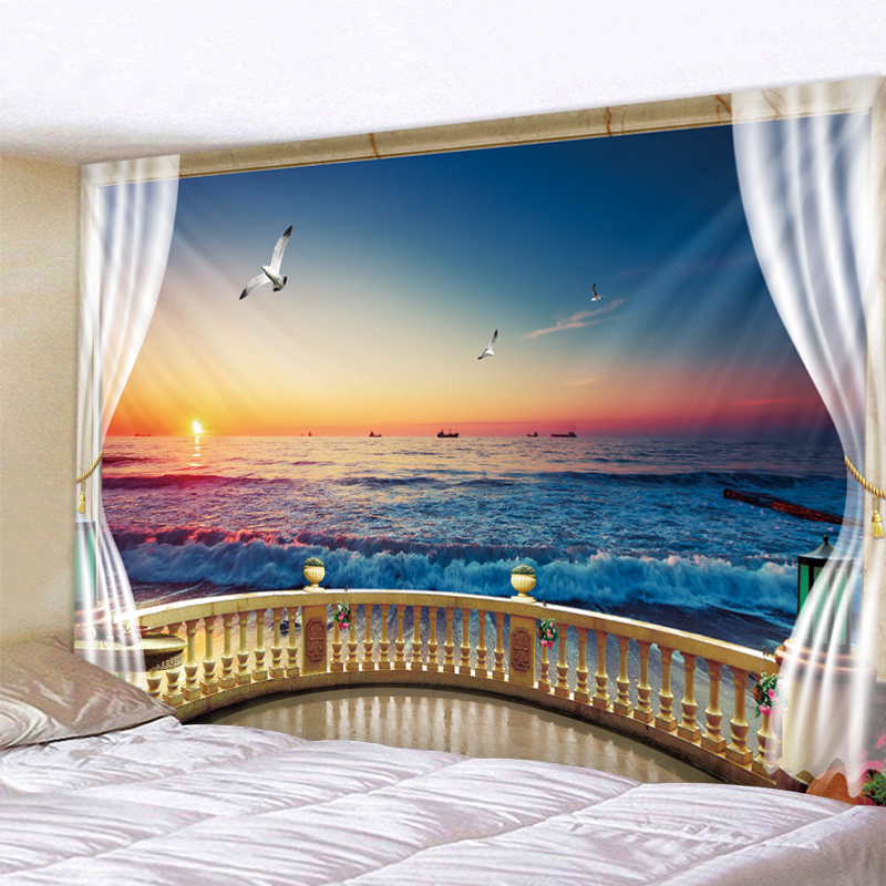 Sunset Seascape 3D Print Tapestry Wall Hanging  Decorative Wall Carpet Bed Sheet Bohemian Hippie Home Decor Couch Throw