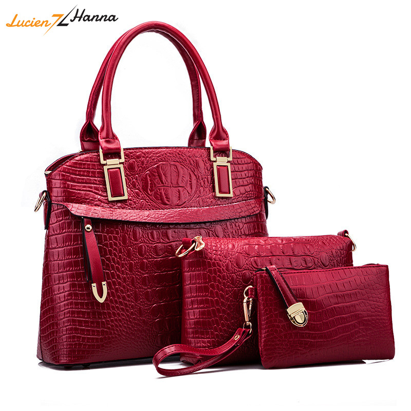 3Pcs/Set Lady PU Leather Shoulder Bags 2018 Crocodile Women Handbag Purse Clutch Composite Messenger Bag Leisure Tote Sac A Main