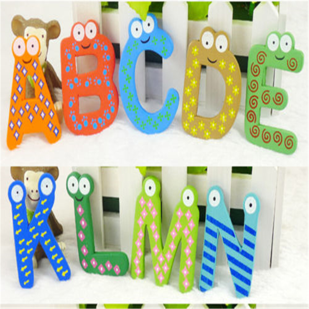 26 Alphabet Magnetic Letters A Z Wooden Fridge Magnets