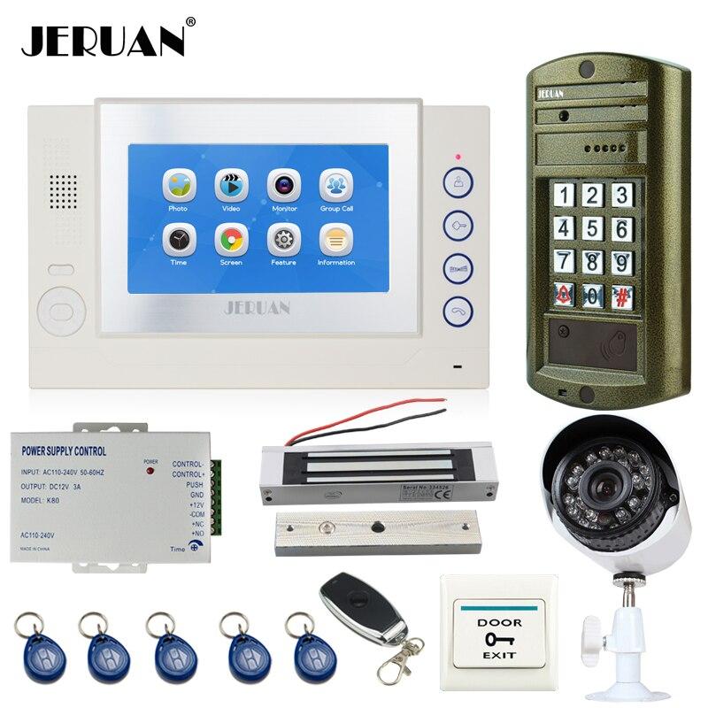 JERUAN 7`` TOUCH Screen LCD Video Door Phone Record Intercom System kit+Waterproof Password HD Mini Camera +Analog Camera 2V1