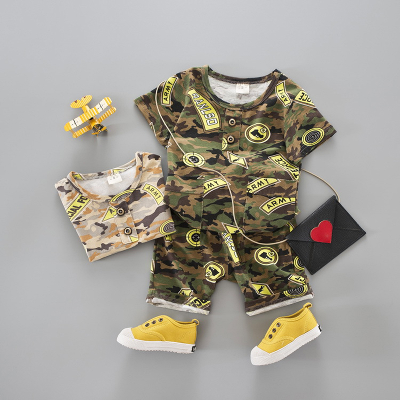 2017 summer children suits boys formal military camouflage style clothing set short sleeve t-shirt short pants 2pcs boy kids set
