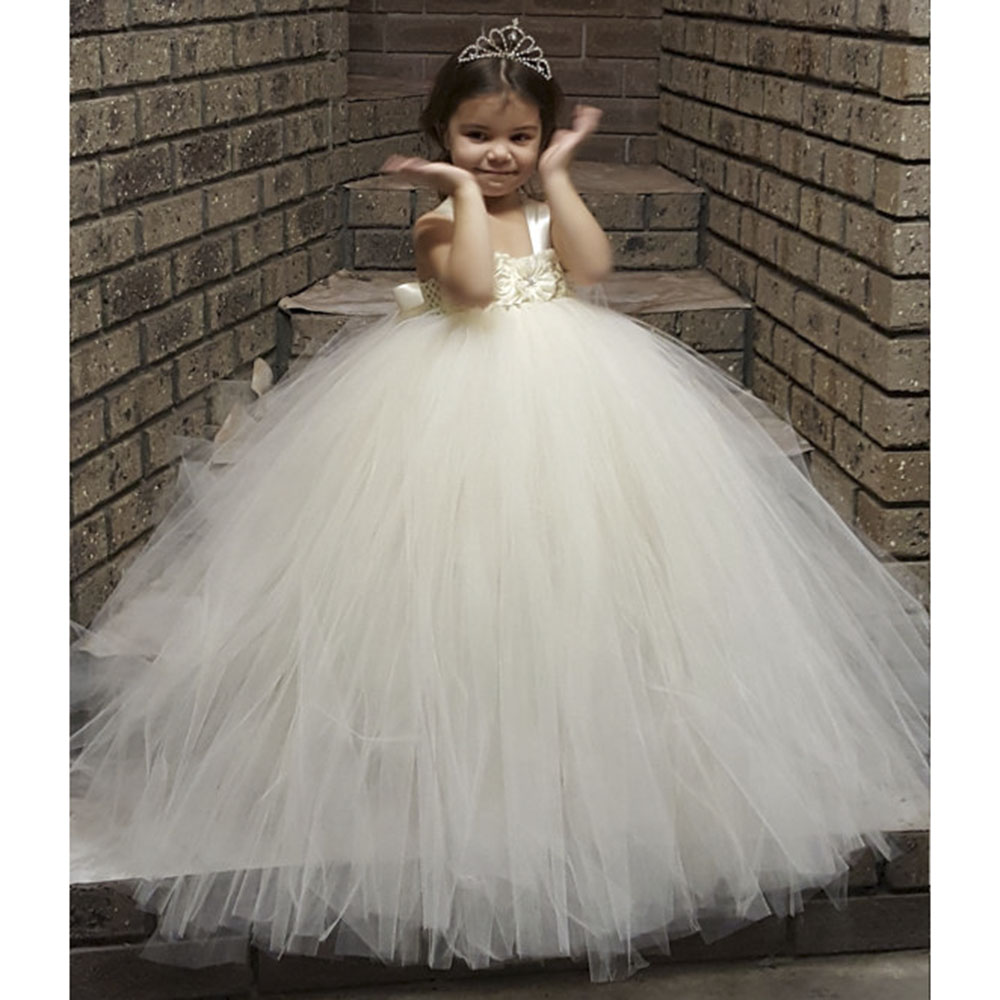 Gorgeous Ivory Full Fluffy Flower Girl Tutu Dress Handmade Crochet Tulle Tutu Dresses Perfect For Birthday Wedding With Crown free shipping mager 10pcs lot ssr mgr 1 d4825 25a dc ac us single phase solid state relay 220v ssr dc control ac dc ac