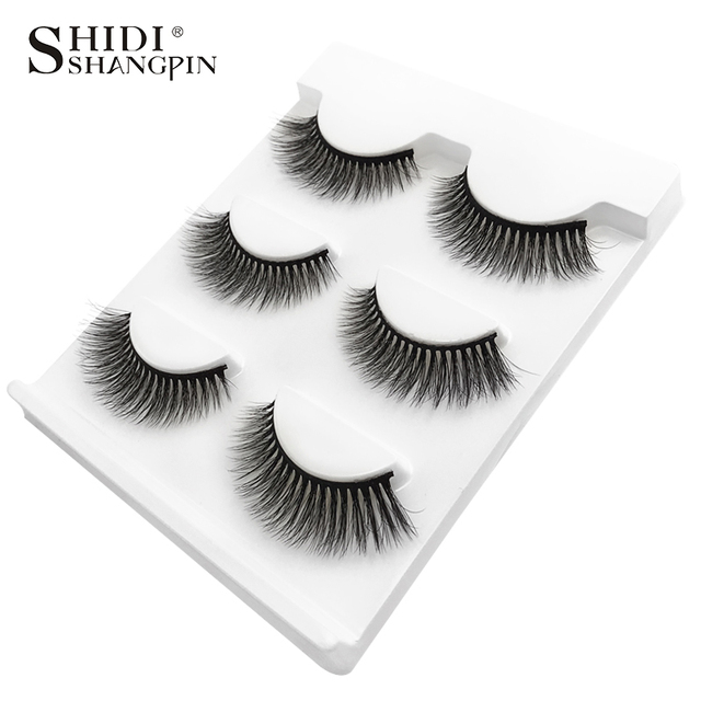 SHIDISHANGPIN 3 pairs mink eyelashes natural false lashes wispy 3d mink lashes makeup false eyelashes eyelash extension lashes 5