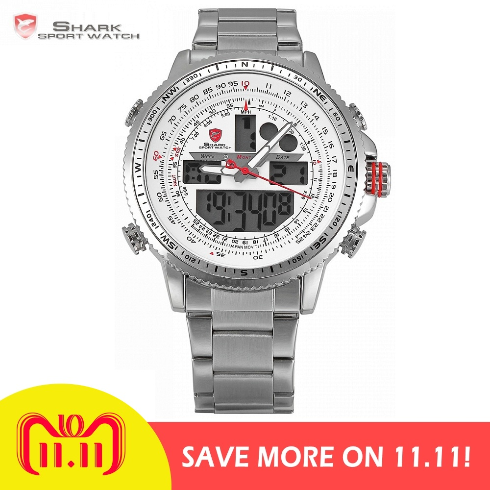 цены Winghead SHARK Sport Watch Brand LCD Digital White Dual Time Date Day Alarm Stopwatch Silver Steel Band Men Quartz Watch /SH329N