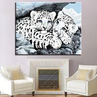 By Numbers Calligraphy Canvas Oil Painting White Leopard Snuggled Up DIY Coloring Pictures Framework For Living