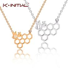hot deal buy kinitial fashion gold silver animal necklaces for women girl cute honeycomb bee animal pendant choker necklace jewelry prom gift