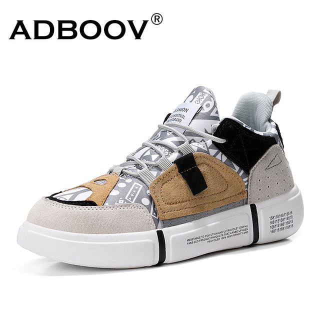 ADBOOV New 2019 Flat Sneakers Women Men Size 35-44 Leather + Canvas Chunky Shoes Chaussures Femme Ladies trainers