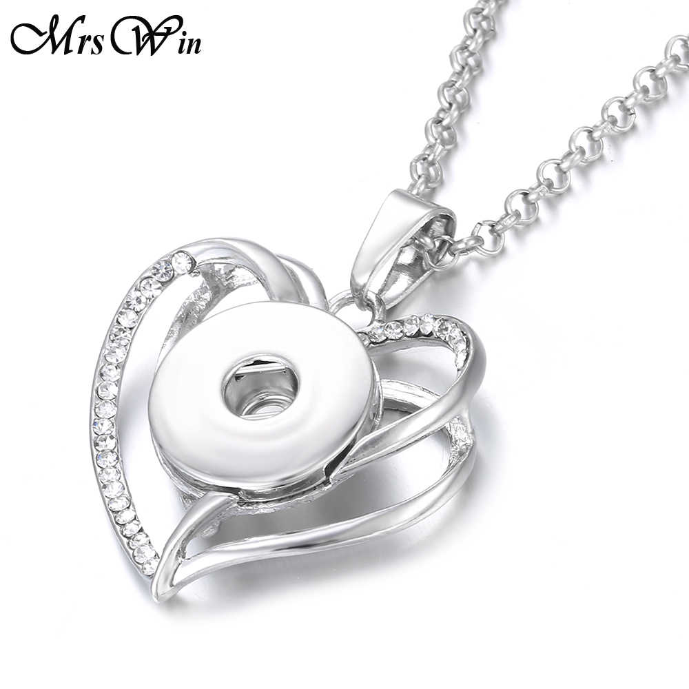 2019 New Snap Button Necklace Pendant fit  18mm Snap Buttons Jewelry Rhinestone Love Heart Necklace Valentine's Day Gifts