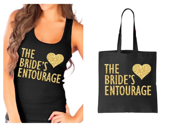 Personalized Entourage Bridesmaids Tanks Camis Bridal Party T Shirts Wedding Bachelorette Tank Tops With Tote Bags