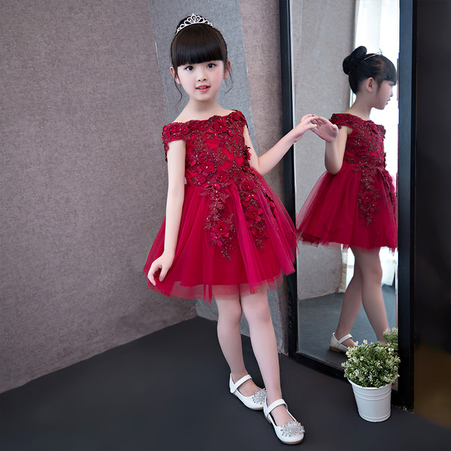Red Lace Flower Girl Dress Shoulderless Appliques Pageant Wedding Dress Girl  Elegant Formal Teenagers Girls Party Dress 6a745c6f3a07