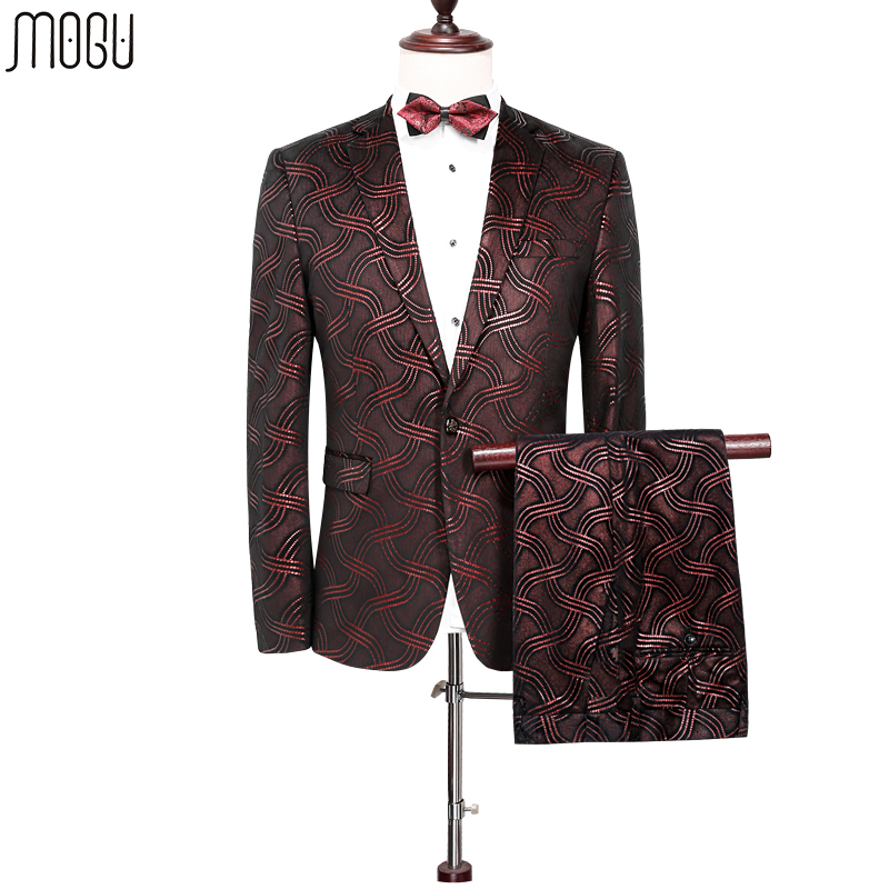 MOGU Two Pieces Printed Wedding Suits For Men2017 High Quality New Fashion Floral Men Suits  Slim Fit Asian Size 4XL Men