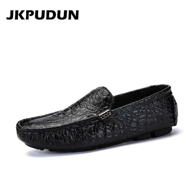 JKPUDUN Driving Shoes Mens Loafers Italian Designer Luxury Brand Big-Size Casual Fashion
