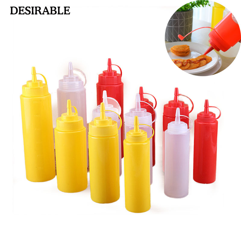 DESIRABLE 8-24OZ Plastic sauce bottle mouth squeeze sauce pot squeeze bottle chocolate sauce bottle tomato salad jam bottle image