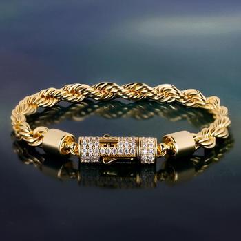 6mm Rope Chain Bracelet  Gold Rapper Swag Twisted Bracelet Hip Hip Bracelet Stainless Steel for Men and Women 1
