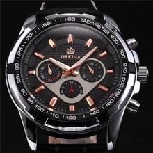 ORKINA Кожаный Ремешок MIYOTA JS20 Движение Япония Мужские Часы Топ Наручные Часы Мужчин Heren Horloges