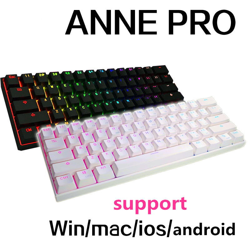Anne Pro mini portable 60% mechanical keyboard wireless bluetooth Gateron mx Blue Brown switch gaming keyboard detachable cable парогенератор mie stiro pro 100 blue