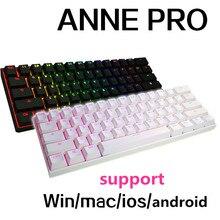 Anne Pro мини портативный 60% механическая клавиатура Беспроводная Bluetooth gateron MX Синий Коричневый переключатель Gaming Keyboard съемный кабель