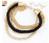 New Fashion Luxury Braided Multilayer Bracelet Alloy Bangle 3Pcs 3