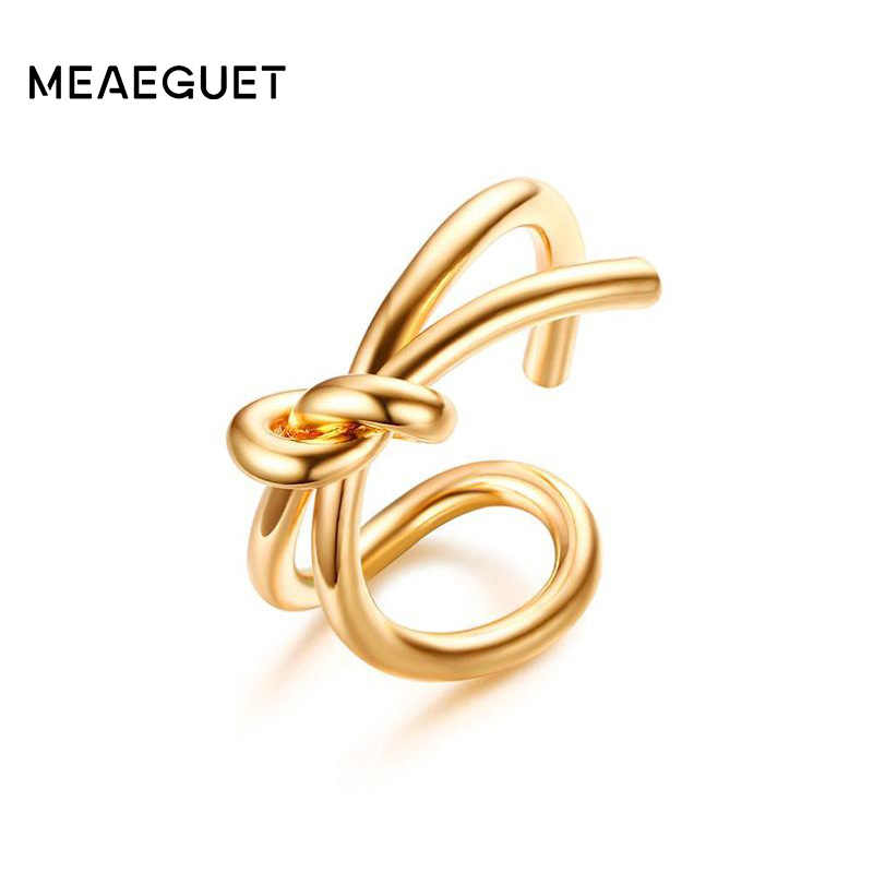 Meaeguet Gold-color Irregular Knot Ring For Women Stainless Steel Punk Party Knuckle Jewelry Anel Bagues Anillos