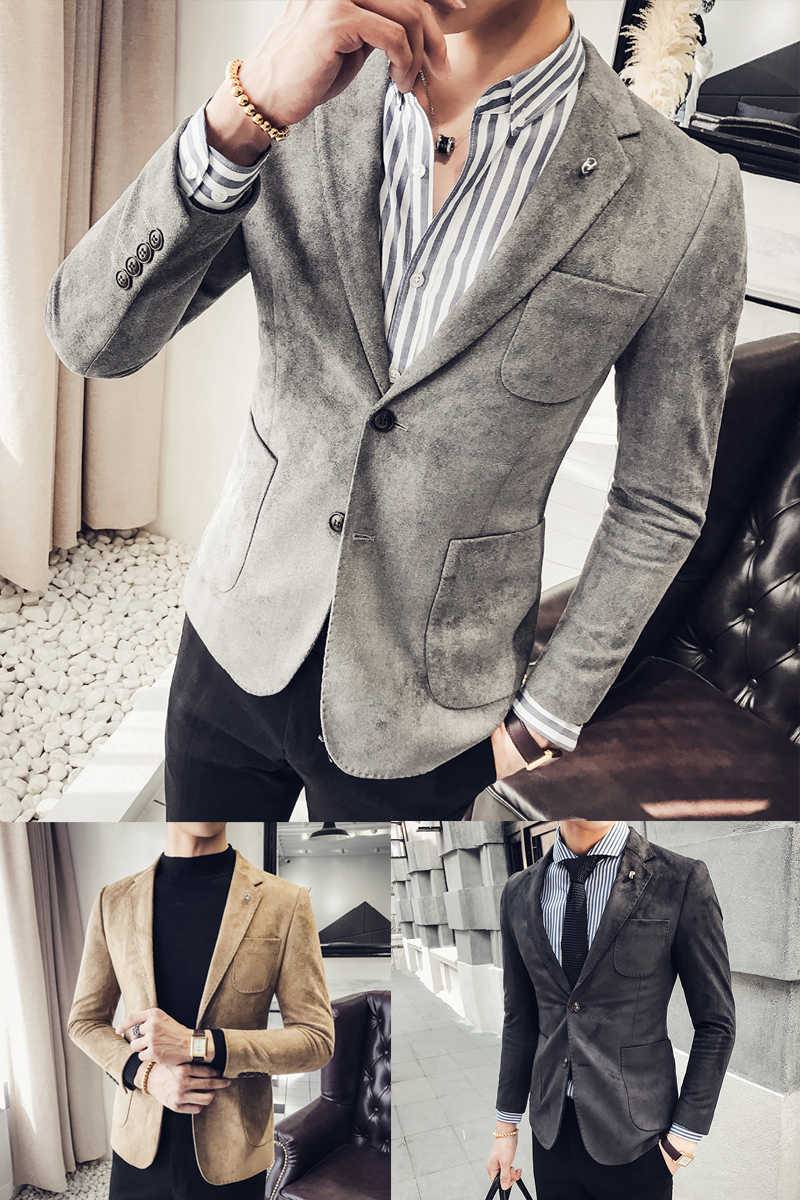 f459e123d ... Spring and autumn new suede jacket Korean men's self-cultivation suits  single-Western clothing