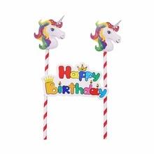 Unicorn Pink Pennant Theme Decoration Straws Unicorn Gift font b bags b font Invitation Cards Forks