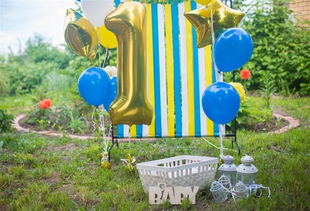 Laeacco Baby 1 cumpleaños globos de césped fondos de fotografía al - Cámara y foto