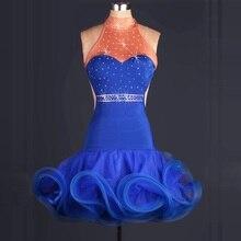 woman blue backless Latin Dance Dress rhinestone Modern Dancing Dress Tango/Cha cha/Rumba Competition/performance Dress