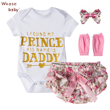 4Pcs/Set Baby Clothing Sets Girls Cotton Rose Flower Summer Baby Bodysuit+Short+Headwear+Legging Infant Baby Girls Clothes