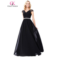 Grace Karin Black Long Formal Evening Dress Plus Size Beadings Sequined Deep V Neck Chiffon Party Banquet Evening Prom Dresses