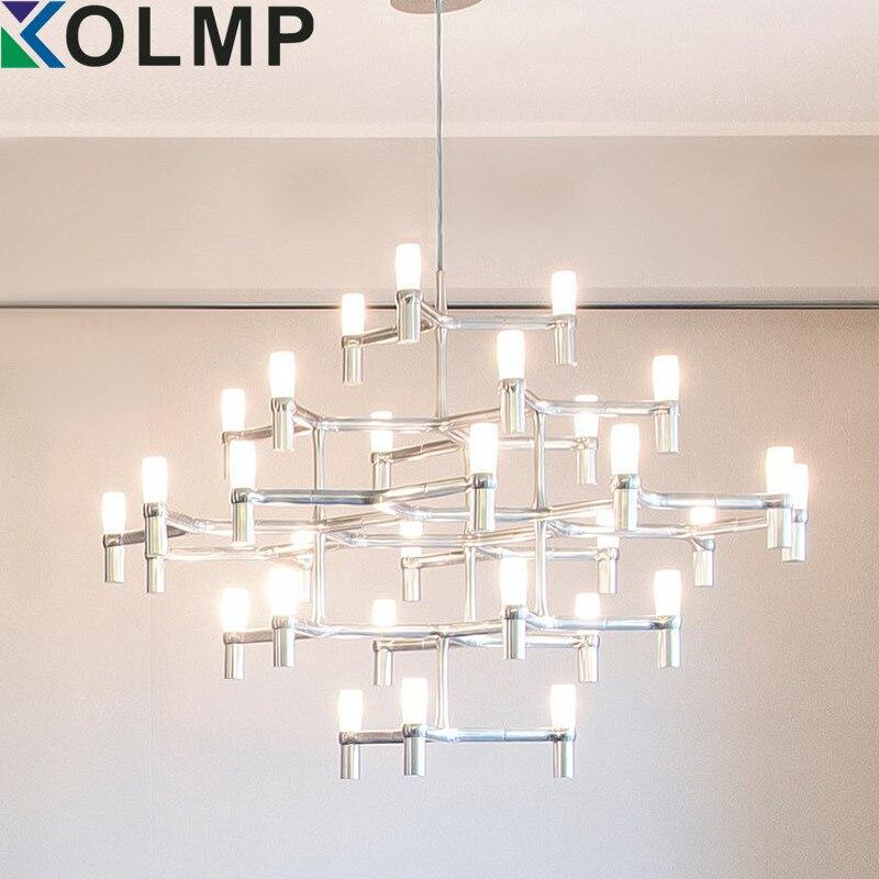 NEMO Crown Nordic Pós-moderna Iluminação Preto/branco/Ouro/Cromo 30 Cabeças de 5 Camadas de Alumínio Luz Pingente de Vela