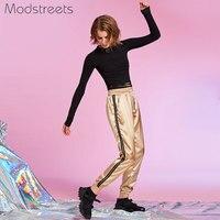 Modstreets Fashion Woman Long Sleeve Black Cropped T Shirt 2018 Spring O Neck Lace Up Tshirt