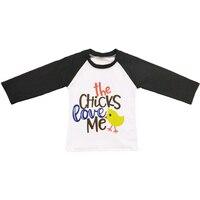 Mais promoção Impressão Garota Primavera Boutique Da Menina do Algodão Do Bebê Recém-nascido Roupas Top T-shirt roupas BSY801-011