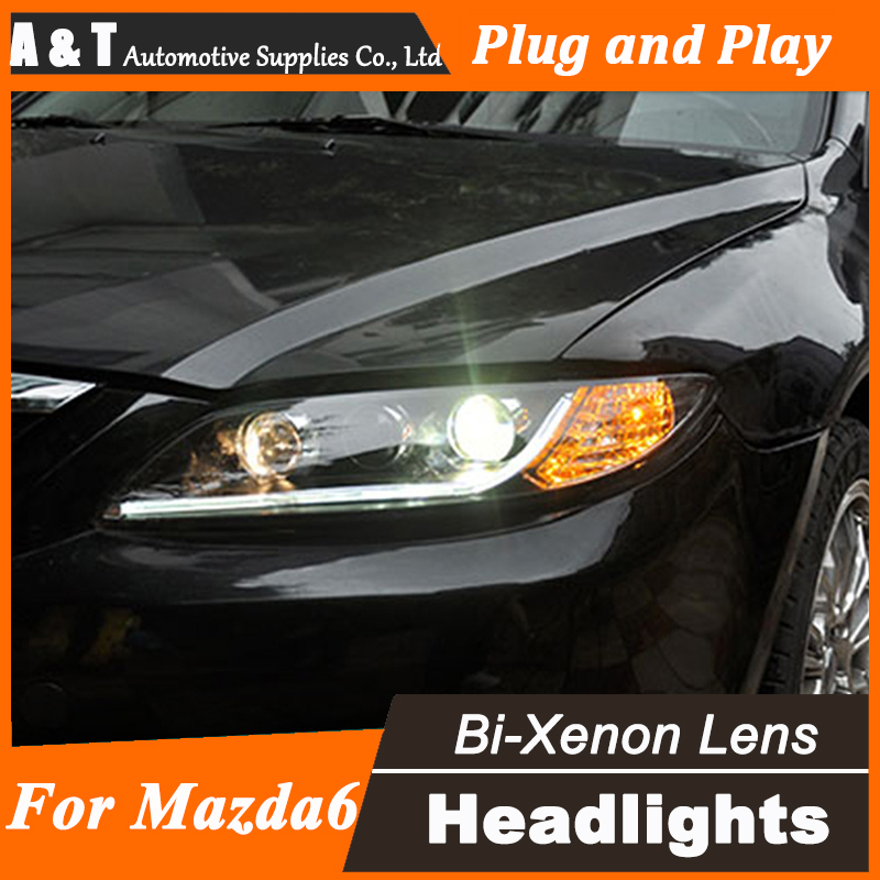 Car Styling for TLZ Mazda 6 Headlight assembly 2012 Mazda6 LED Headlight DRL Lens Double Beam H7 with hid kit 2pcs. hireno headlamp for 2004 10 hyundai elantra headlight headlight assembly led drl angel lens double beam hid xenon 2pcs