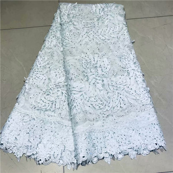 Graceful design French lace cloth tulle net lace fabric with cord lace and rhinestones VRN212(5yards/lot)