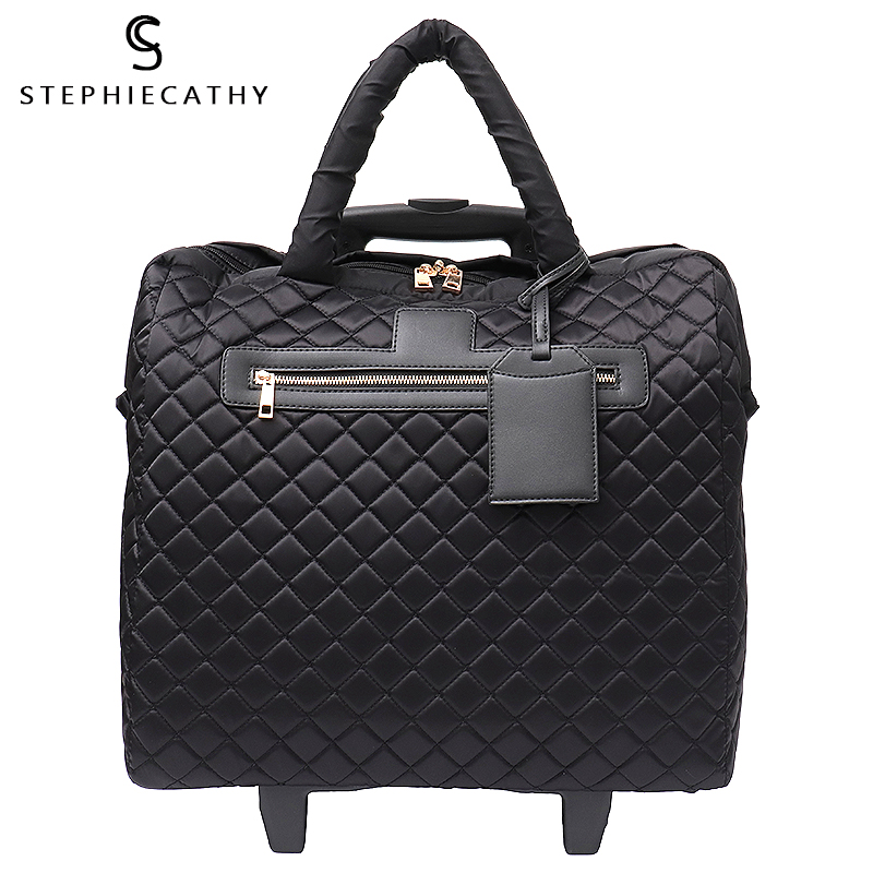 SC Brand Women Plaid Suitcases and Travel Rolling Bags Fiber Fashion Large Trolley Duffel Bag Travel
